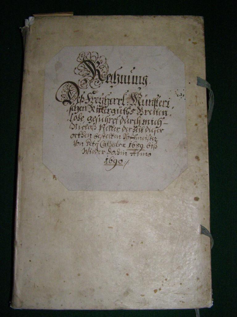 Rechnungsbuch im Schlossarchiv aus dem Jahr 1690
